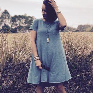 Lularoe Carly Acid Wash Midi Dress Gray Size M